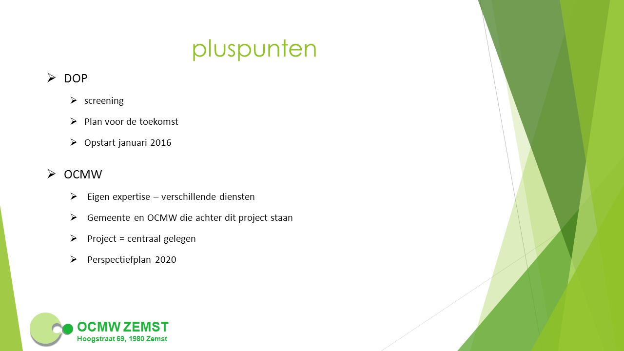 pluspunten DOP OCMW screening Plan voor de toekomst