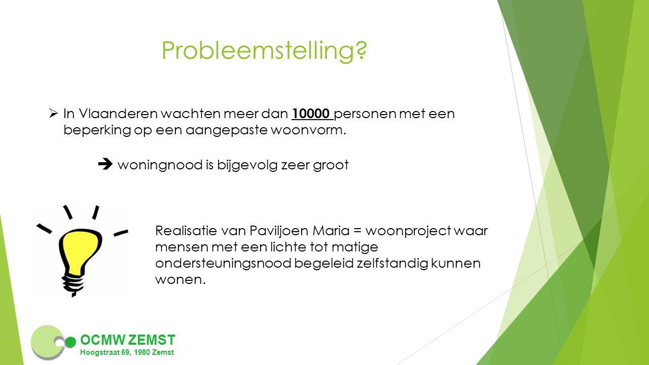 Probleemstelling In Vlaanderen wachten meer dan 10000 personen met een beperking op een aangepaste woonvorm.
