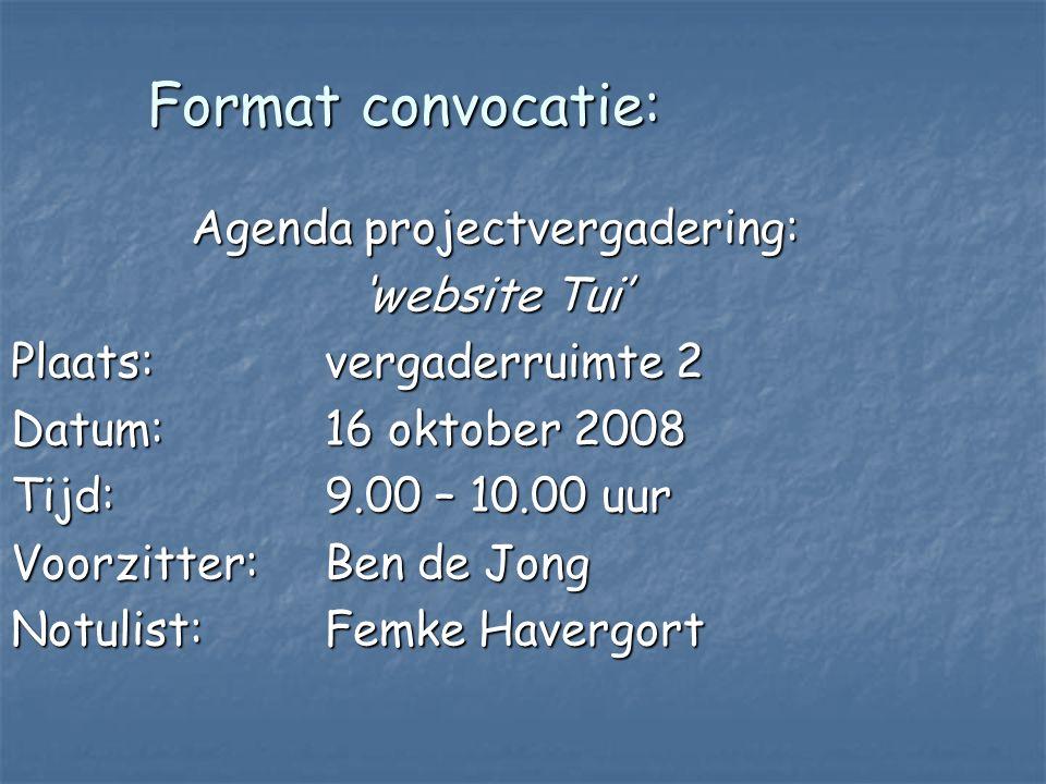 Agenda projectvergadering: