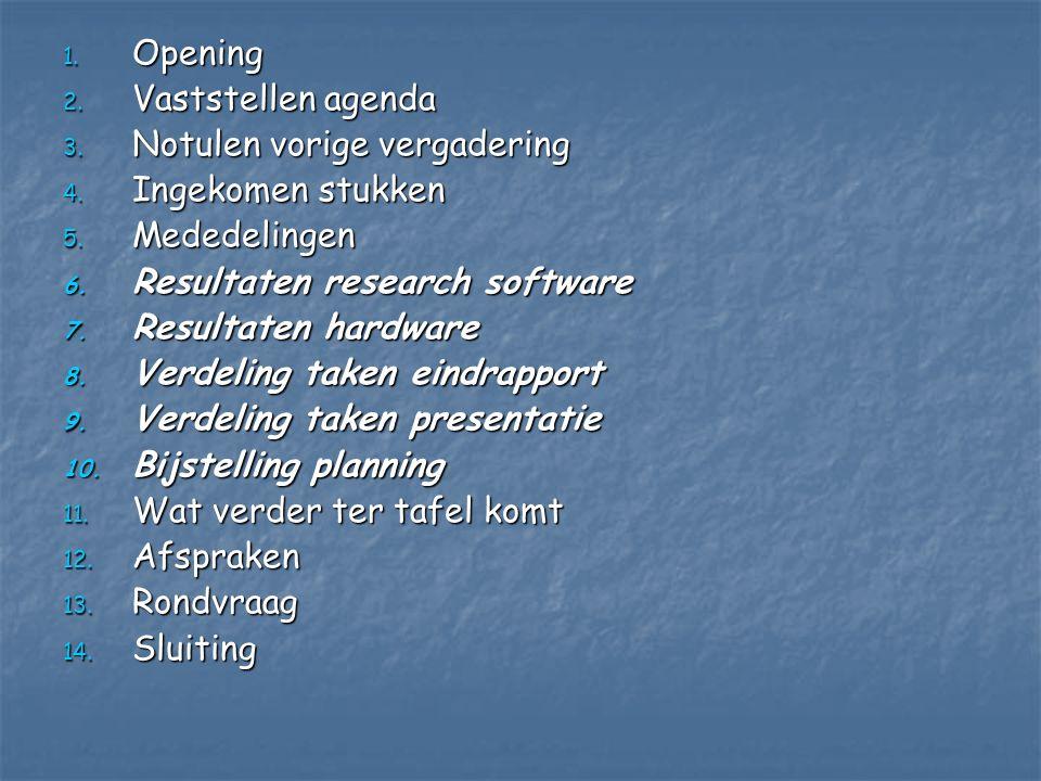 Opening Vaststellen agenda. Notulen vorige vergadering. Ingekomen stukken. Mededelingen. Resultaten research software.