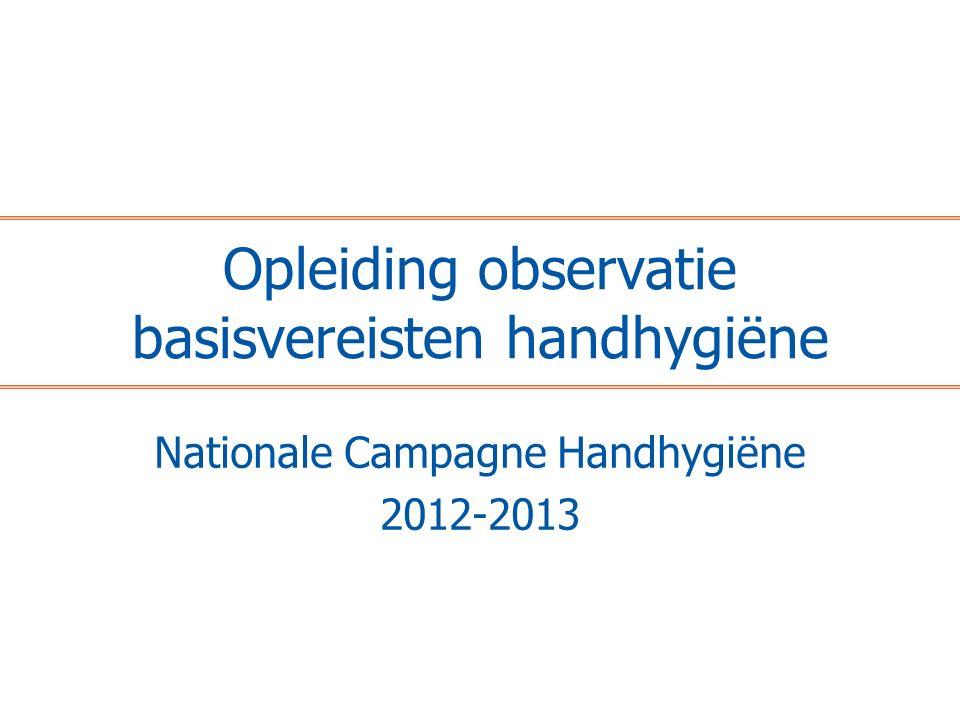 Opleiding observatie basisvereisten handhygiëne