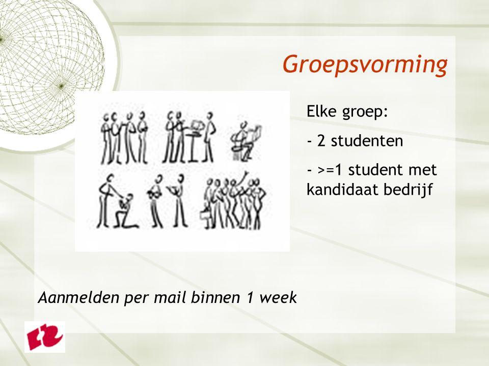 Groepsvorming Elke groep: - 2 studenten