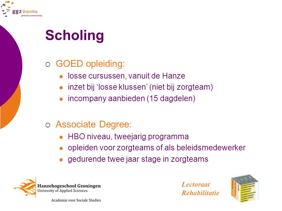 Scholing GOED opleiding: Associate Degree: