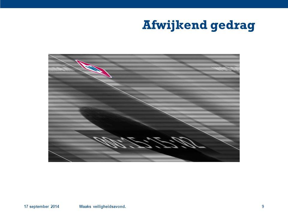Afwijkend gedrag 17 september 2014 Waaks veiligheidsavond.