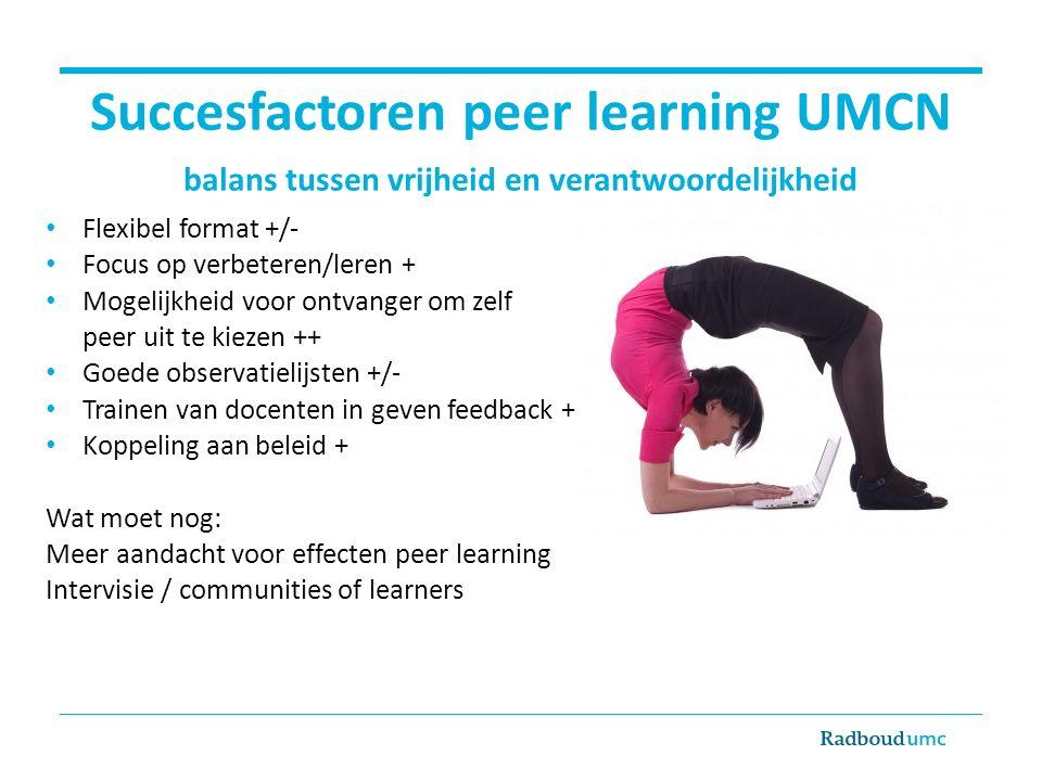 Succesfactoren peer learning UMCN balans tussen vrijheid en verantwoordelijkheid