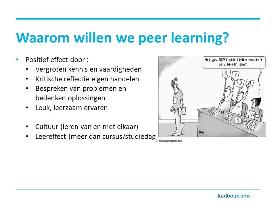 Waarom willen we peer learning
