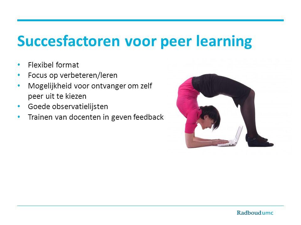 Succesfactoren voor peer learning