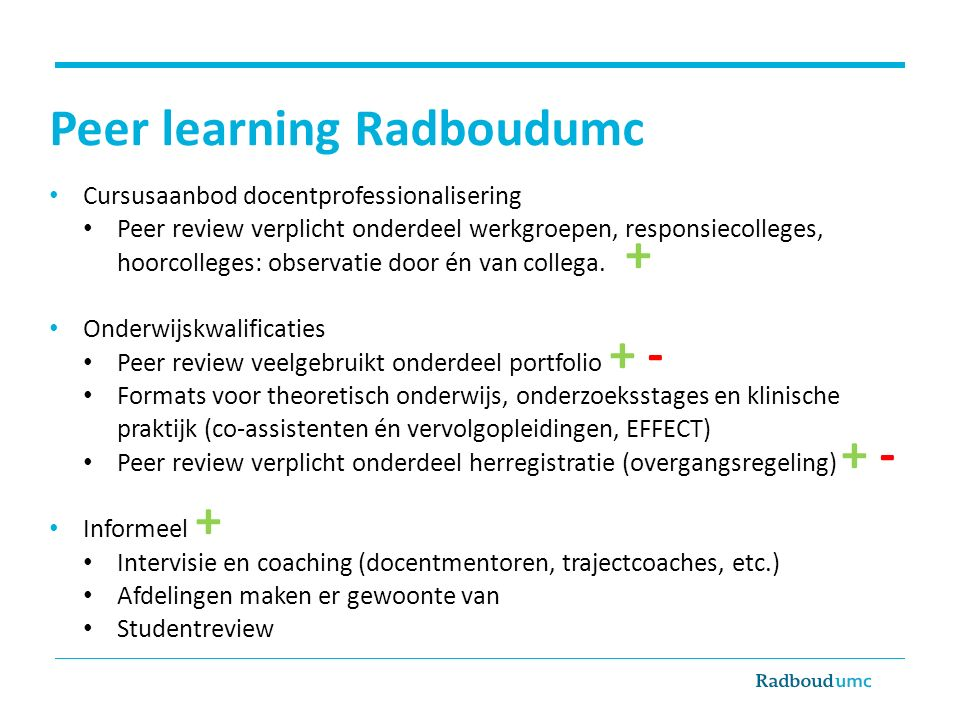 Peer learning Radboudumc