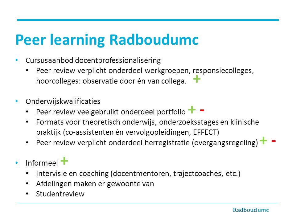 Peer learning Radboudumc
