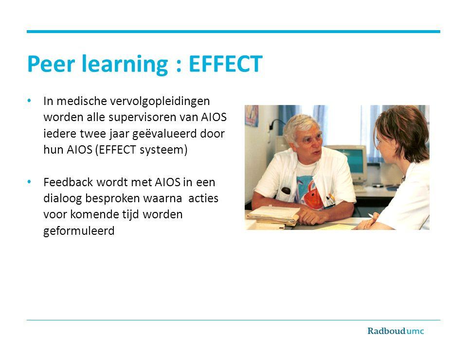 Peer learning : EFFECT In medische vervolgopleidingen worden alle supervisoren van AIOS iedere twee jaar geëvalueerd door hun AIOS (EFFECT systeem)