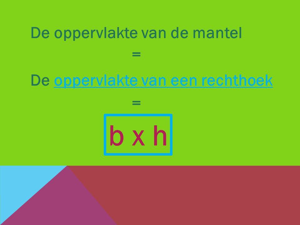 b x h De oppervlakte van de mantel = De oppervlakte van een rechthoek