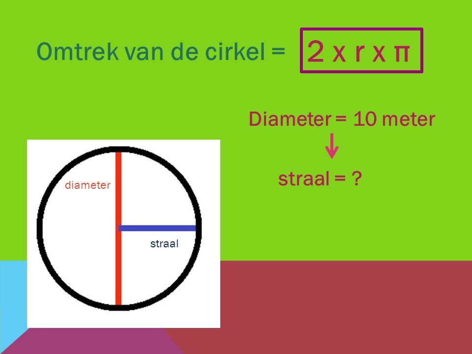 2 x r x π Omtrek van de cirkel = Diameter = 10 meter straal =