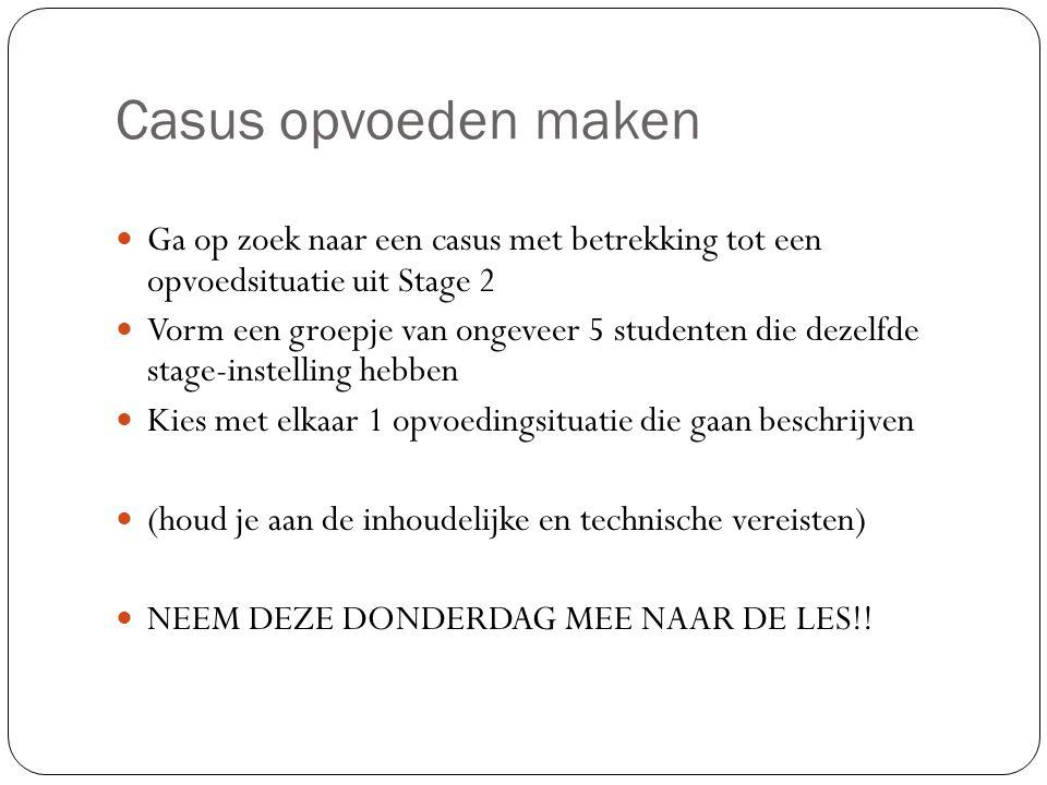 Casus opvoeden maken Ga op zoek naar een casus met betrekking tot een opvoedsituatie uit Stage 2.