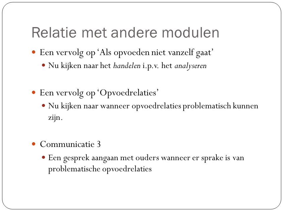 Relatie met andere modulen