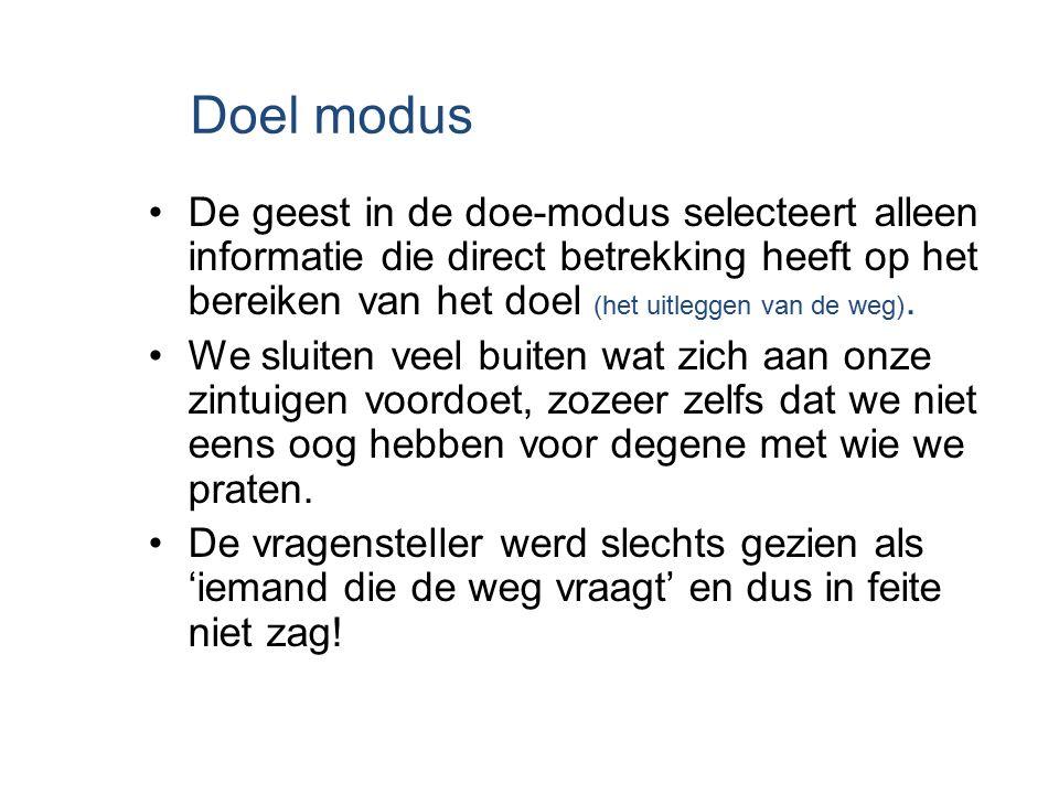 Doel modus De geest in de doe-modus selecteert alleen informatie die direct betrekking heeft op het bereiken van het doel (het uitleggen van de weg).