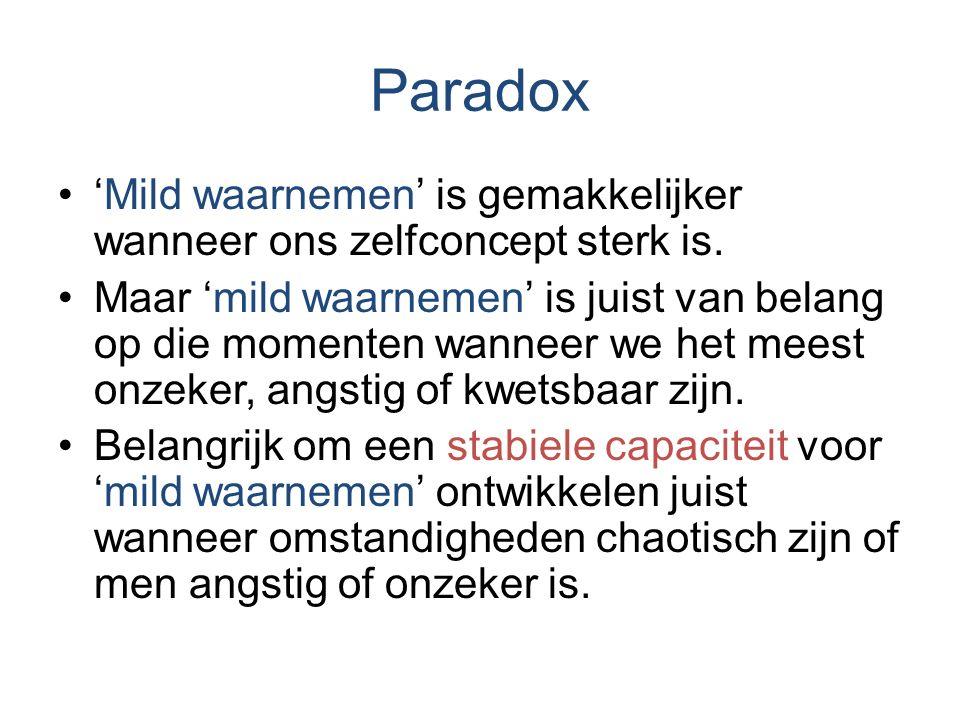 Paradox 'Mild waarnemen' is gemakkelijker wanneer ons zelfconcept sterk is.