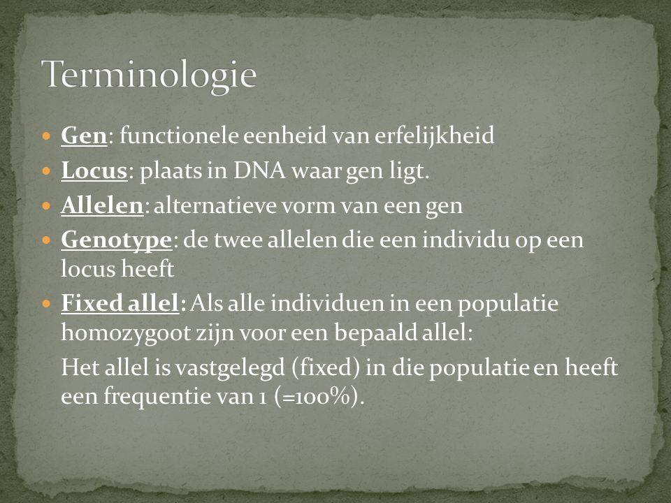 Terminologie Gen: functionele eenheid van erfelijkheid