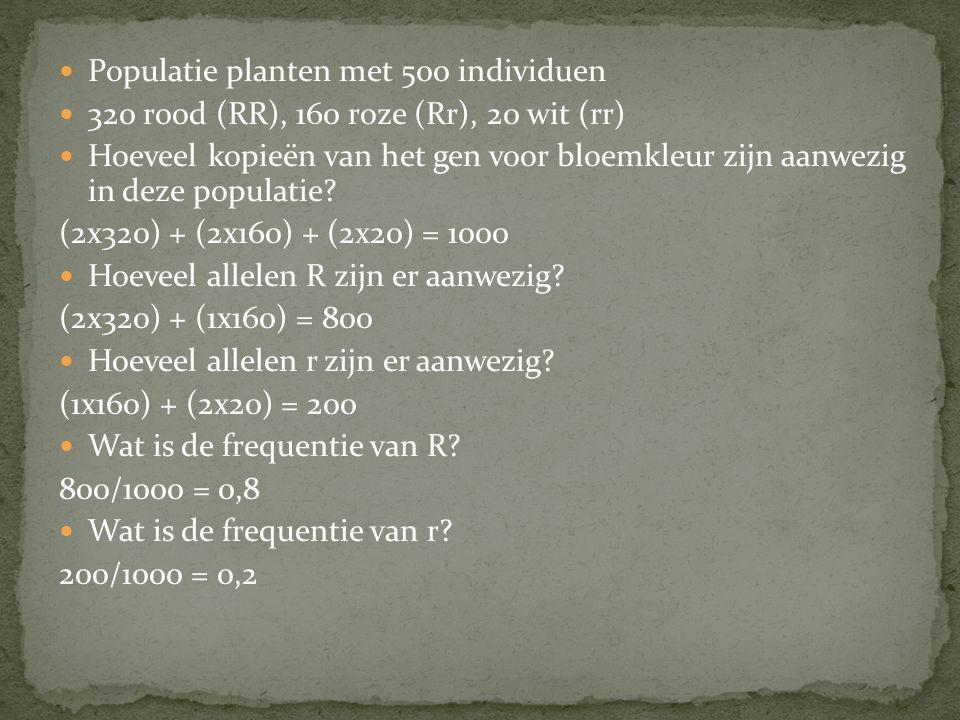 Populatie planten met 500 individuen