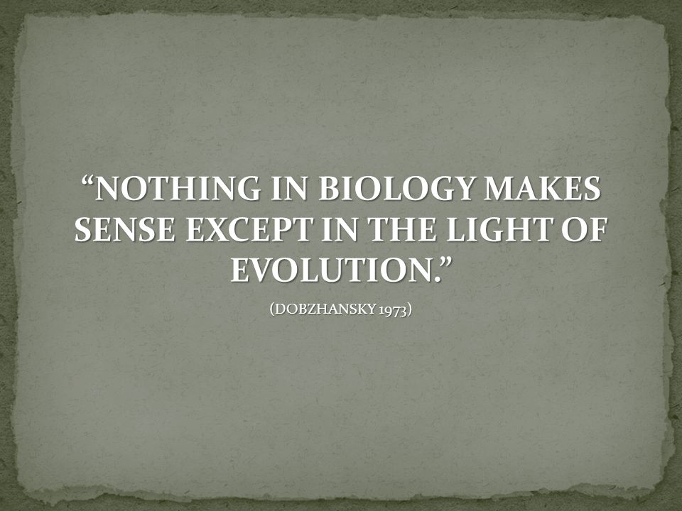 NOTHING IN BIOLOGY MAKES SENSE EXCEPT IN THE LIGHT OF EVOLUTION.