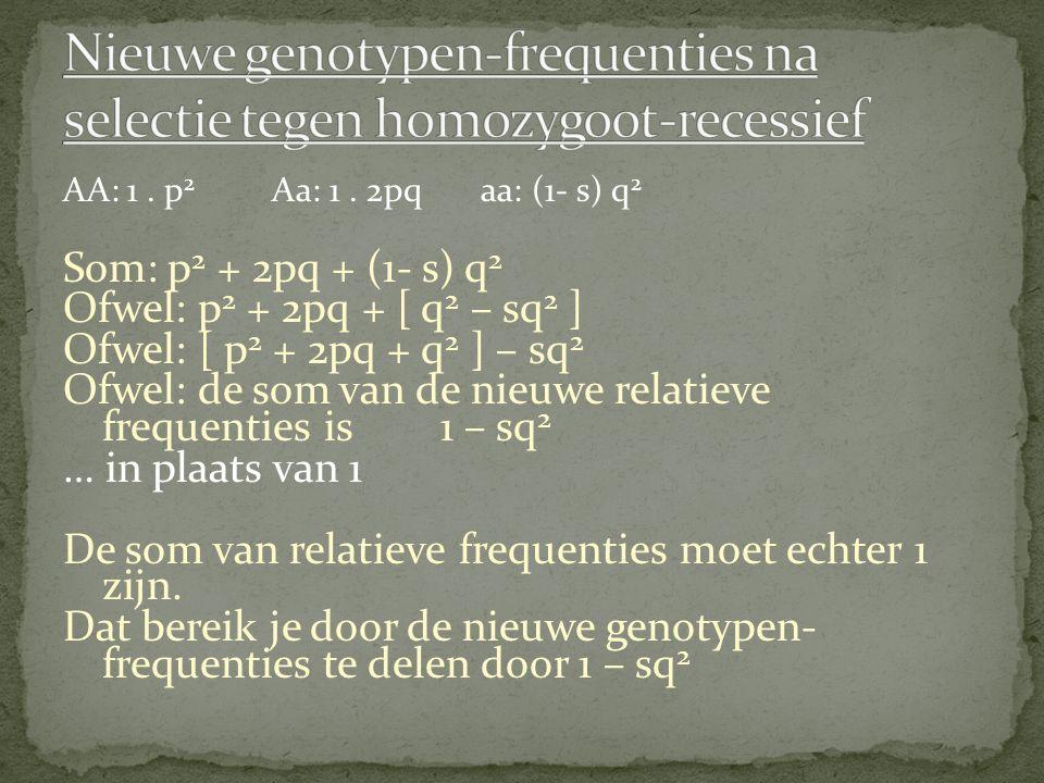 Nieuwe genotypen-frequenties na selectie tegen homozygoot-recessief