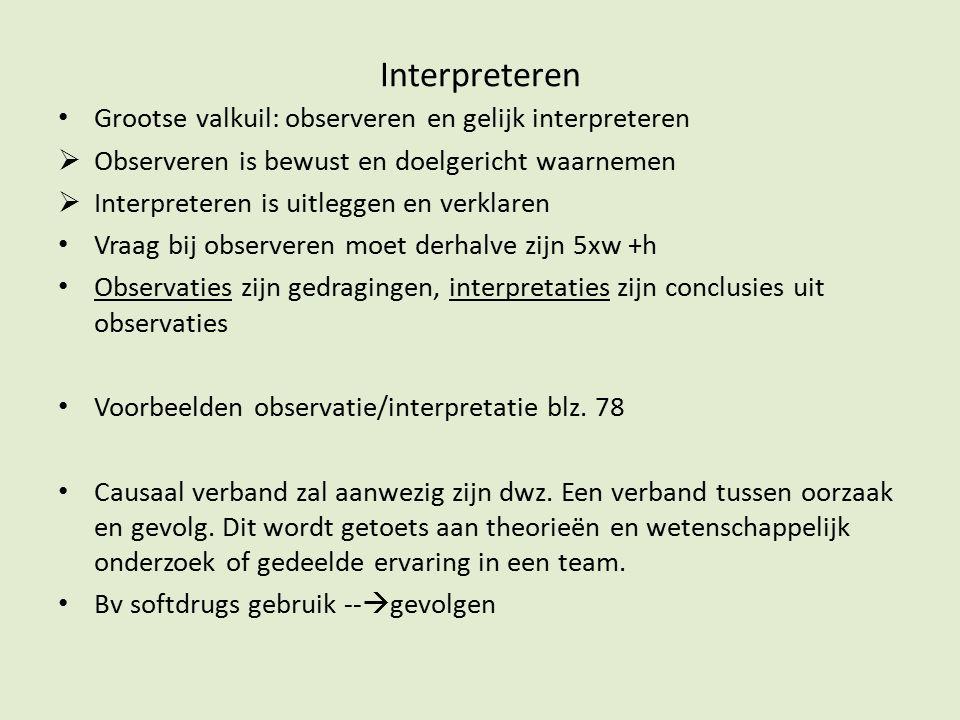 Interpreteren Grootse valkuil: observeren en gelijk interpreteren