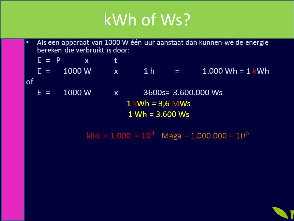 kWh of Ws E = P x t E = 1000 W x 1 h = 1.000 Wh = 1 kWh of