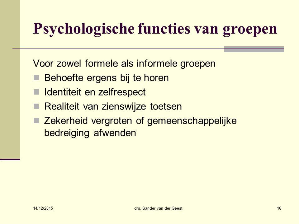Psychologische functies van groepen