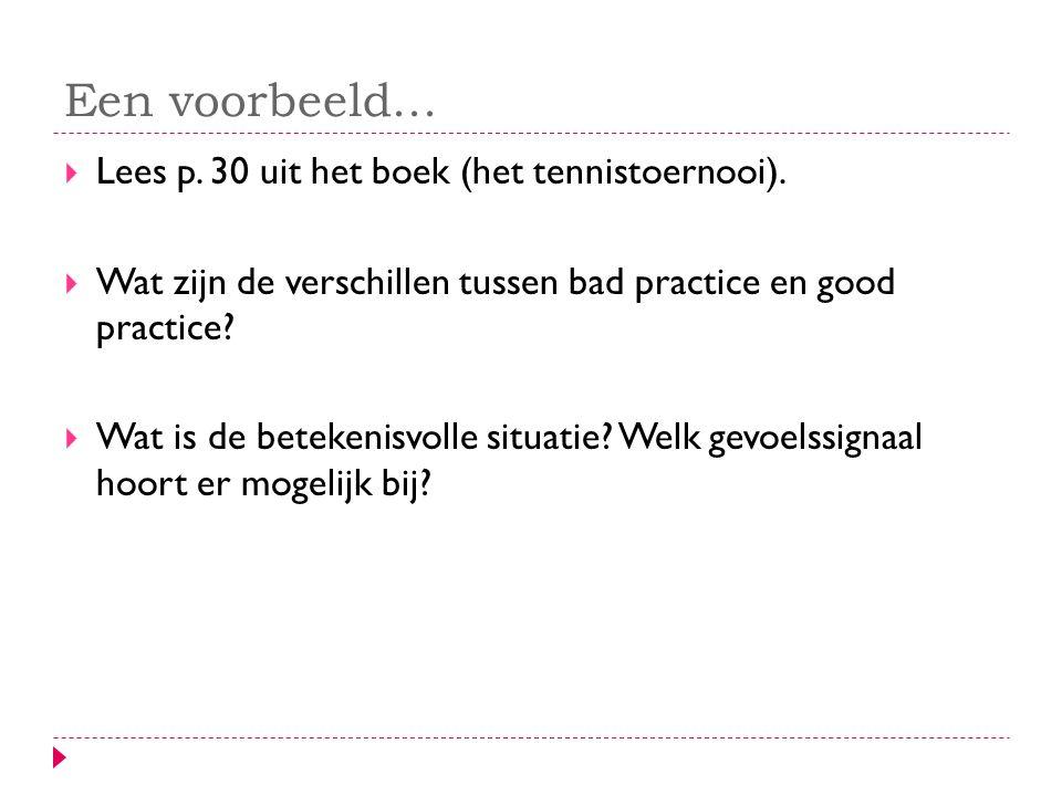 Een voorbeeld... Lees p. 30 uit het boek (het tennistoernooi).