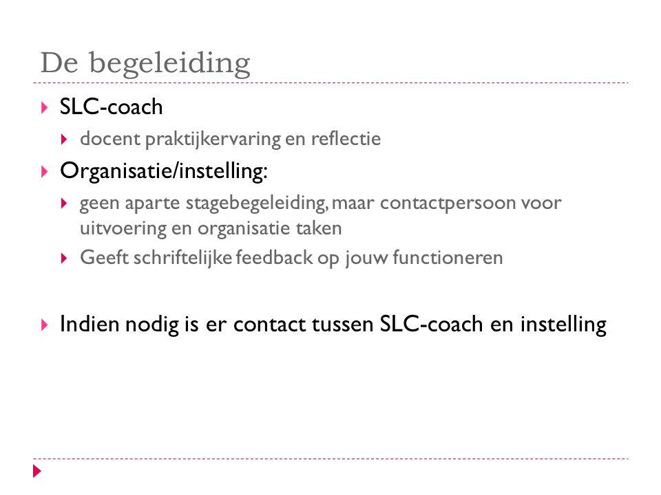 De begeleiding SLC-coach Organisatie/instelling: