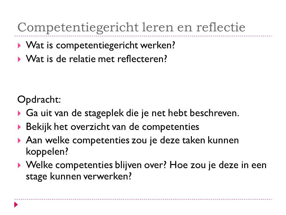 Competentiegericht leren en reflectie