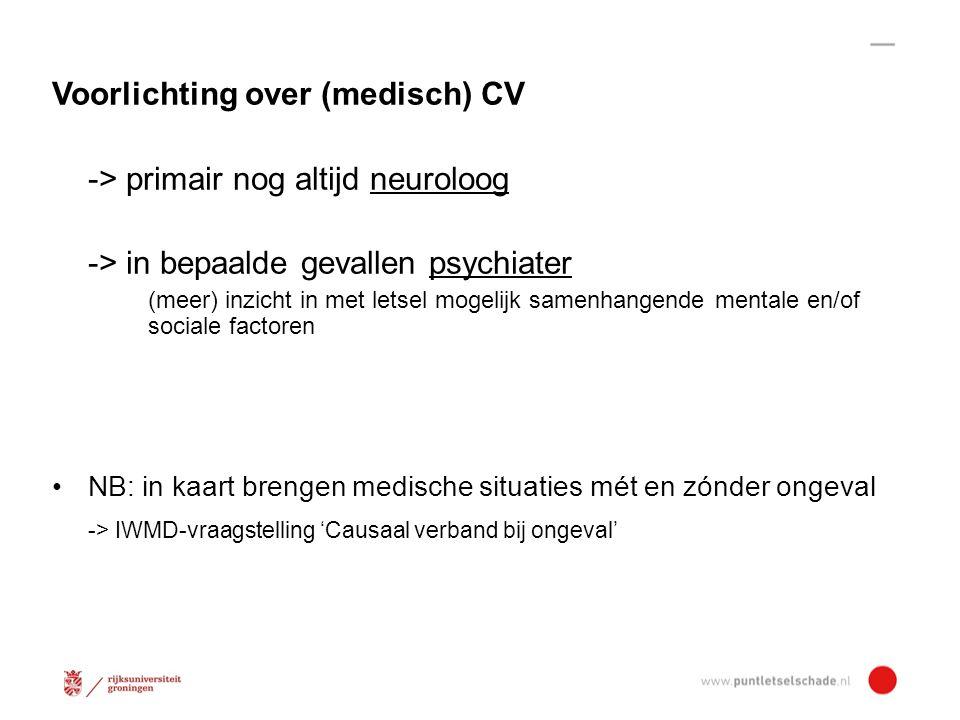 Voorlichting over (medisch) CV -> primair nog altijd neuroloog