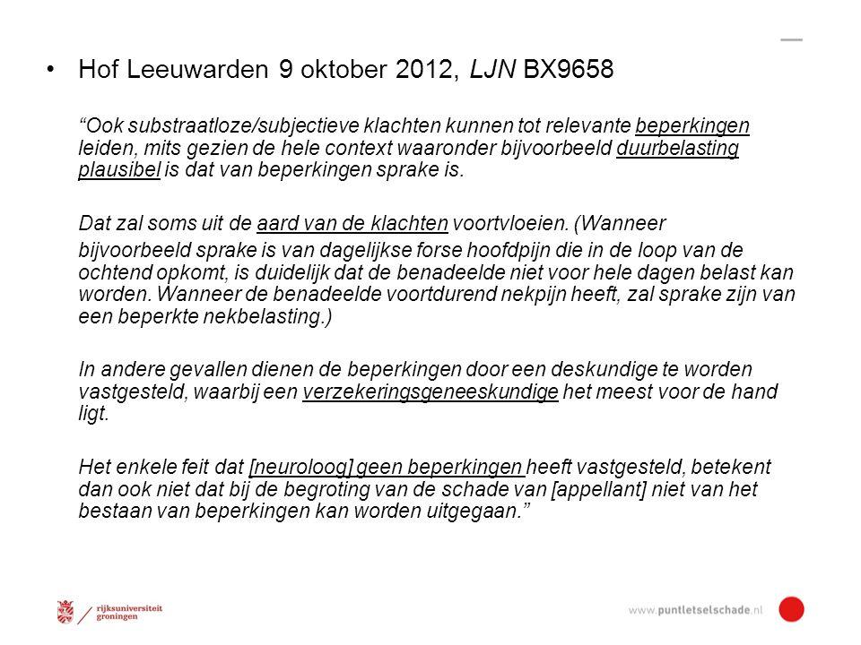 Hof Leeuwarden 9 oktober 2012, LJN BX9658