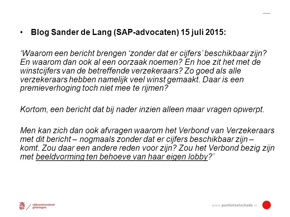 Blog Sander de Lang (SAP-advocaten) 15 juli 2015: