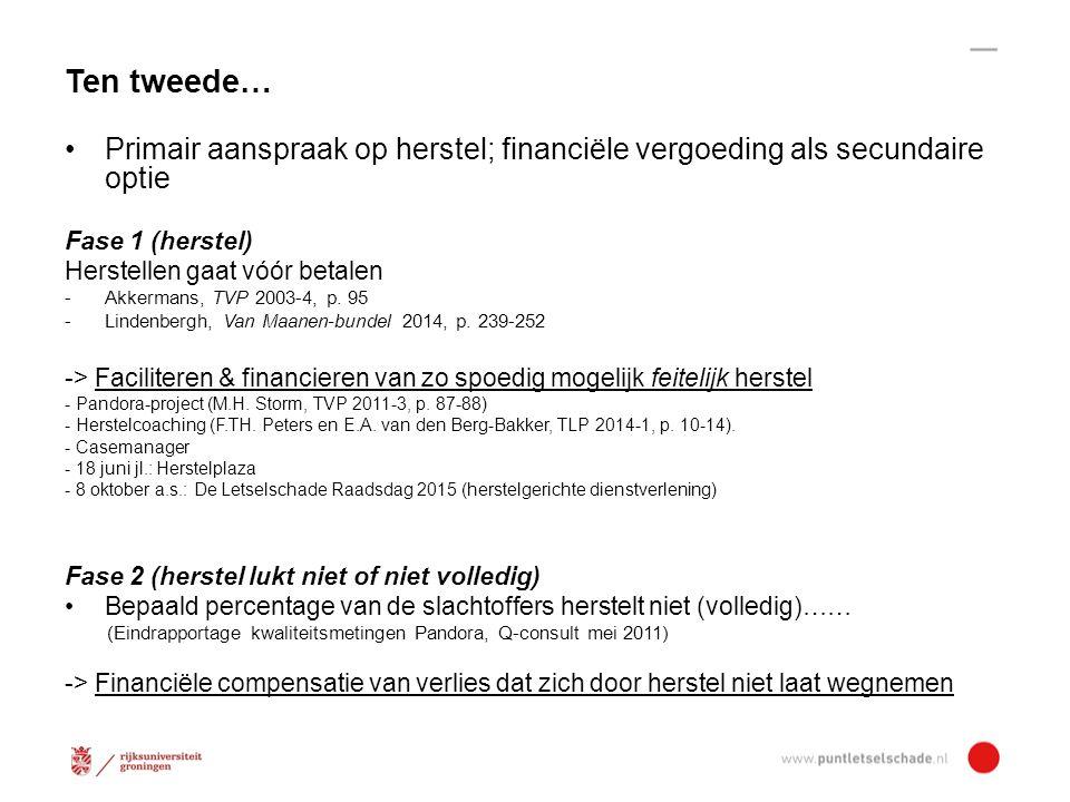 Ten tweede… Primair aanspraak op herstel; financiële vergoeding als secundaire optie. Fase 1 (herstel)