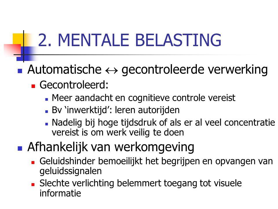 2. MENTALE BELASTING Automatische  gecontroleerde verwerking