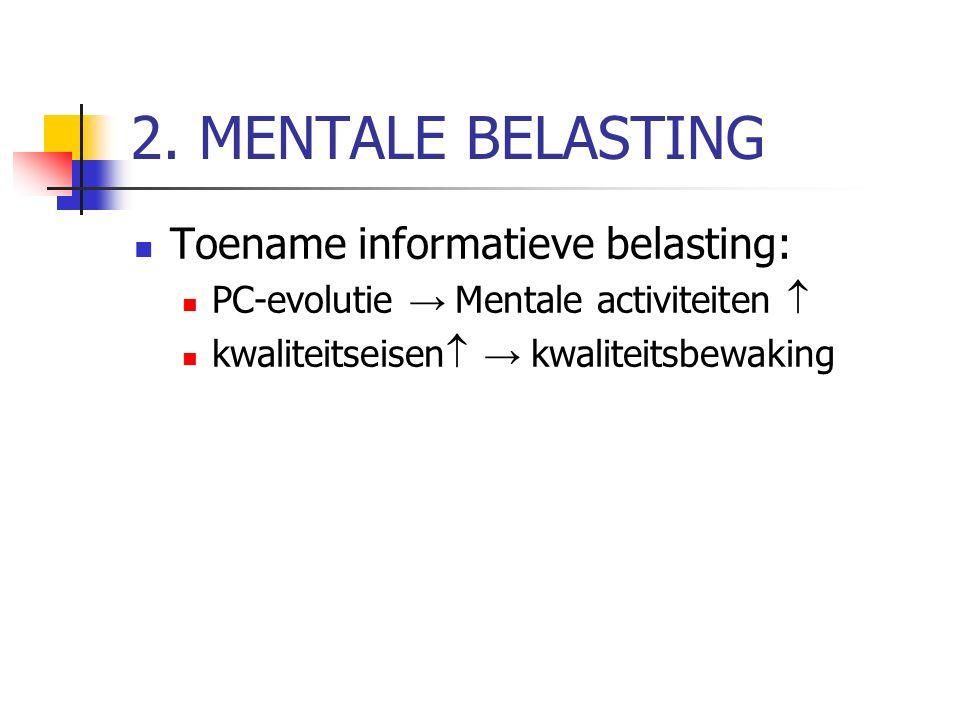 2. MENTALE BELASTING Toename informatieve belasting: