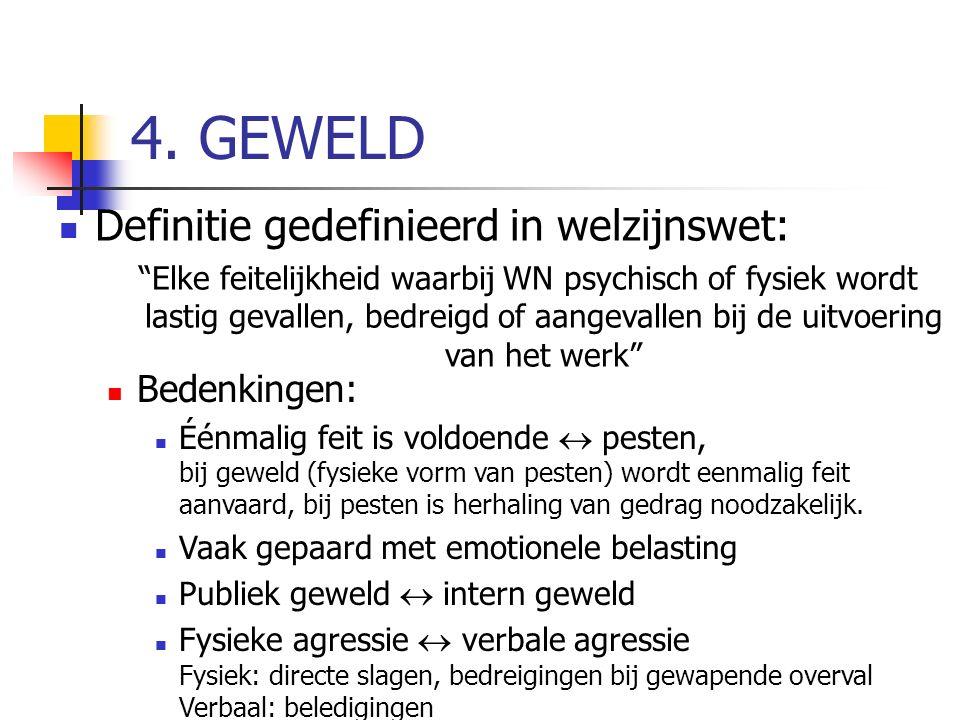 4. GEWELD Definitie gedefinieerd in welzijnswet: Bedenkingen: