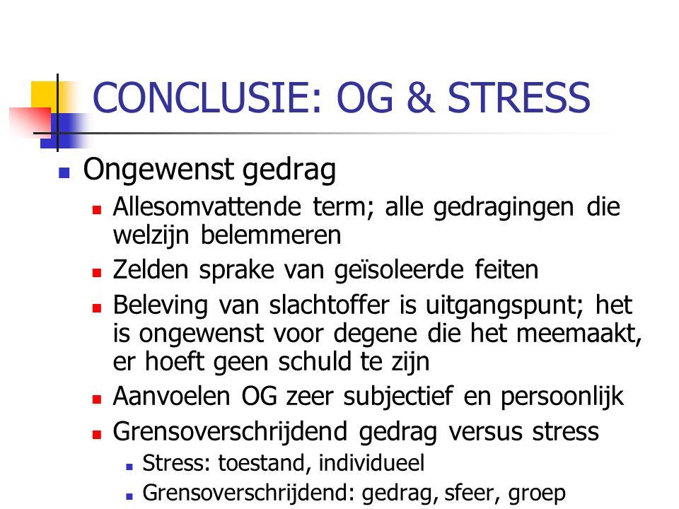 CONCLUSIE: OG & STRESS Ongewenst gedrag