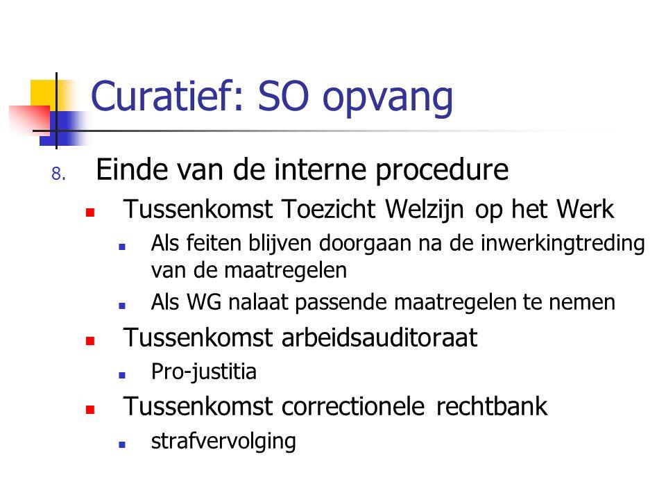 Curatief: SO opvang Einde van de interne procedure