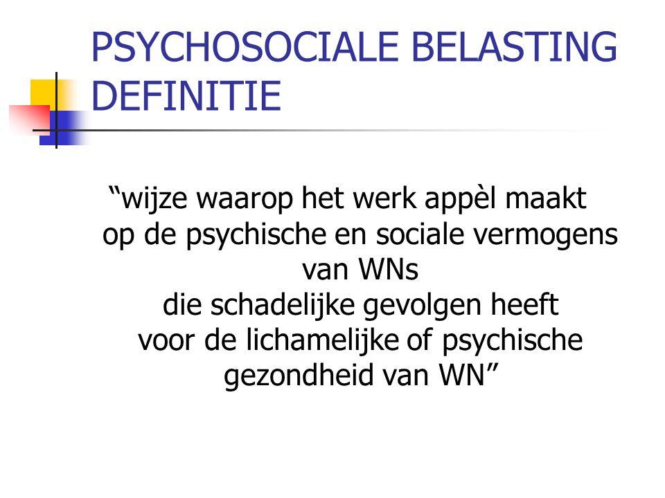 PSYCHOSOCIALE BELASTING DEFINITIE