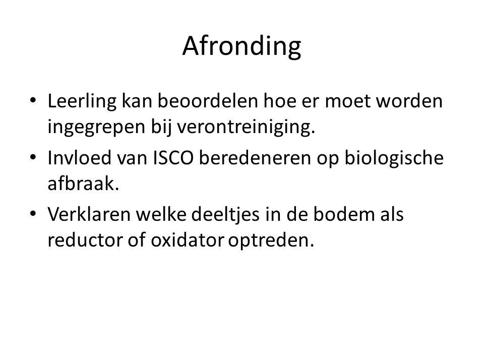 Afronding Leerling kan beoordelen hoe er moet worden ingegrepen bij verontreiniging. Invloed van ISCO beredeneren op biologische afbraak.