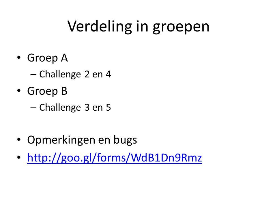 Verdeling in groepen Groep A Groep B Opmerkingen en bugs