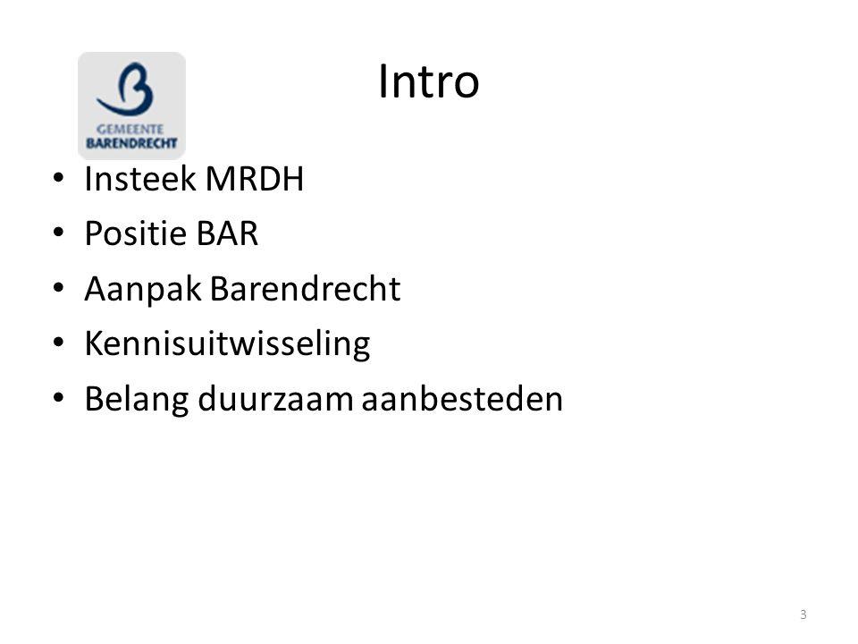 Intro Insteek MRDH Positie BAR Aanpak Barendrecht Kennisuitwisseling