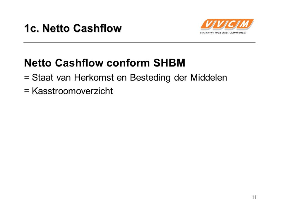 Netto Cashflow conform SHBM