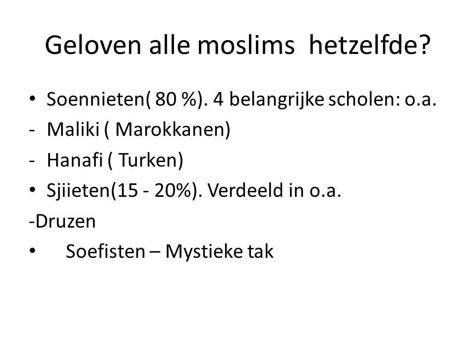Geloven alle moslims hetzelfde