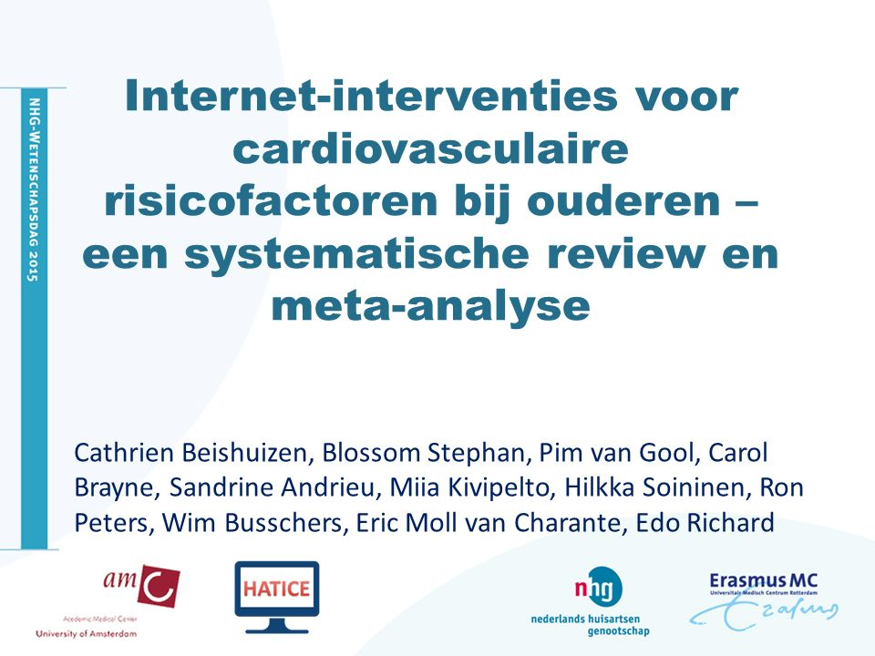 Internet-interventies voor cardiovasculaire risicofactoren bij ouderen – een systematische review en meta-analyse