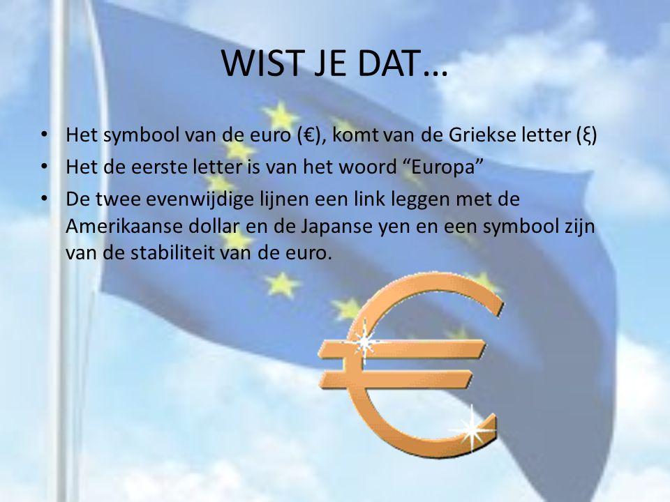WIST JE DAT… Het symbool van de euro (€), komt van de Griekse letter (ξ) Het de eerste letter is van het woord Europa