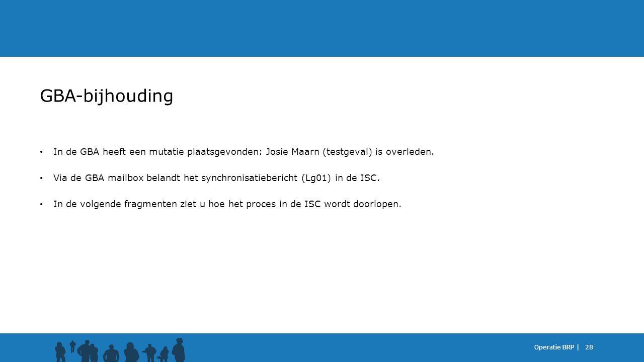 GBA-bijhouding In de GBA heeft een mutatie plaatsgevonden: Josie Maarn (testgeval) is overleden.