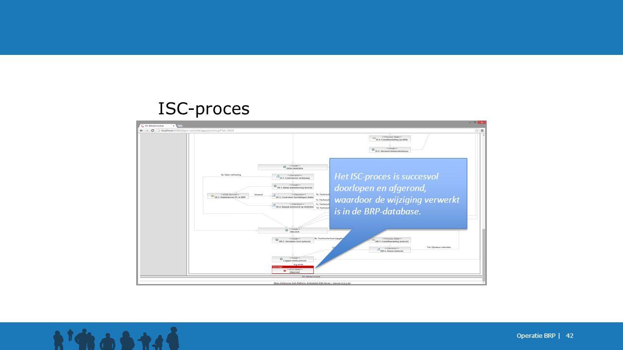 ISC-proces Het ISC-proces is succesvol doorlopen en afgerond, waardoor de wijziging verwerkt is in de BRP-database.