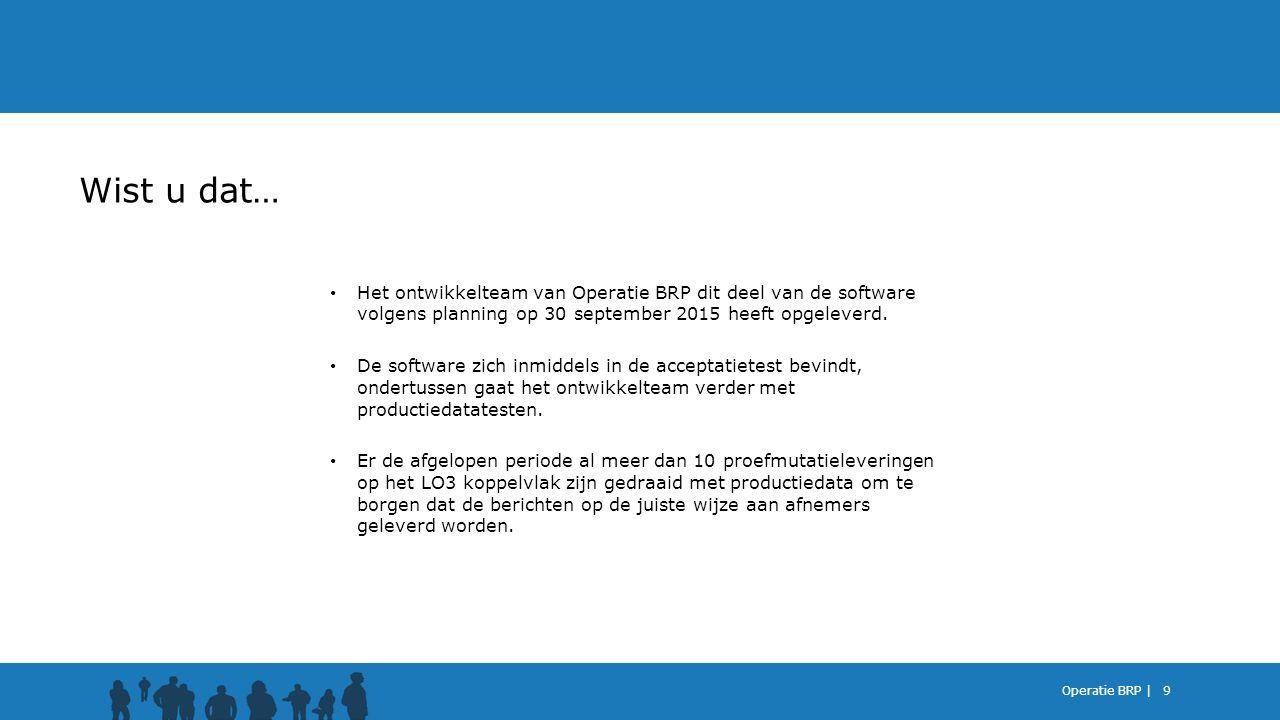 Wist u dat… Het ontwikkelteam van Operatie BRP dit deel van de software volgens planning op 30 september 2015 heeft opgeleverd.